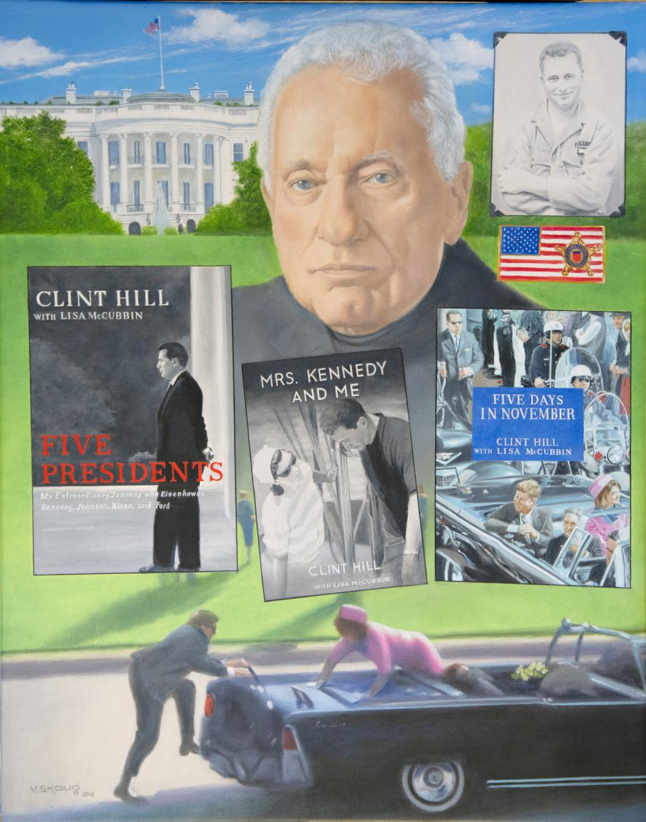 Clint Hill portrait by artist Vern Skaug